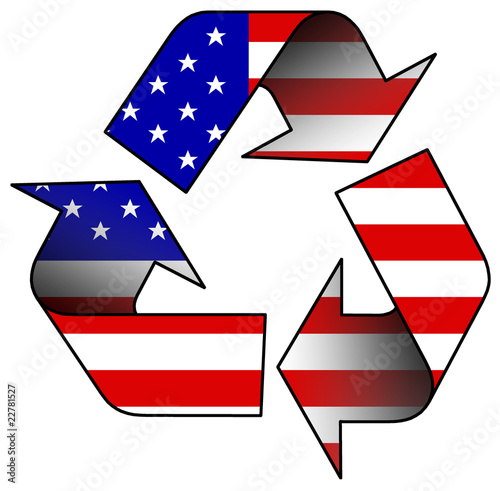 Recycle logo containing the US flag