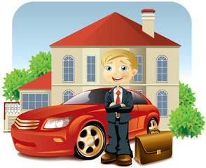 Man with his car and house