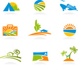 Tourism and vacation icons and logos poster