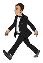 man in tuxedo walking