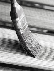 Brush painting wooden furniture, black & white tone