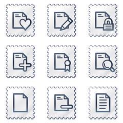 Document web icons set 2, white stamp series