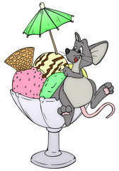Maus, Ratte, Eis, Sommer, Hitze, Eisbecher, Eisdiele