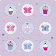 Vector illustration of card with muffins and butterflies