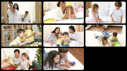 Montage showing family everyday life scenes in HD