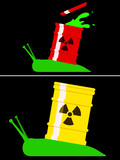 Toxic snail with radioactive barrel poster