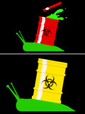 Toxic snail with biohazard barrel poster