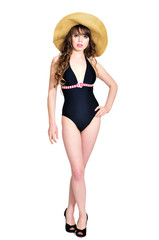 bikini girl wearing straw hat