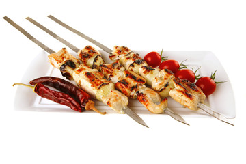 roasted chicken kebab on white