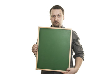 man holding a small blackboard in the hands