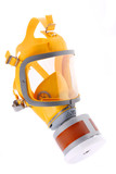 Modern silicone rubber gas mask. poster