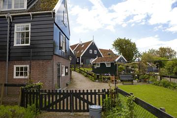 Typical Dutch houses in village Marken, the Netherlands