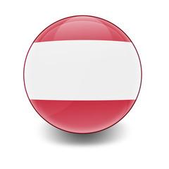 Esfera brillante con bandera Austria