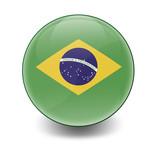 Esfera brillante con bandera Brasil