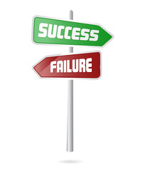 success and failure road signal concept