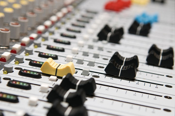 Professional sound mixer closeup