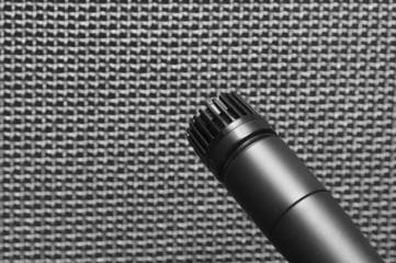 Microphone closeup against speaker