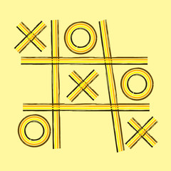 A grunge retro tic tac toe or noughts and crosses game