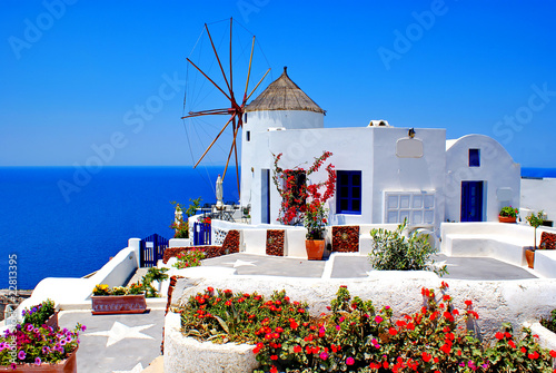 Fototapety, obrazy : Windmill on Santorini island, Greece