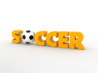 Soccer word with soccer ball