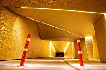 Bike tunnel at night