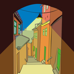 fully editable vector illustration of an old town by day