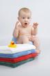 Infant preparation for bath.