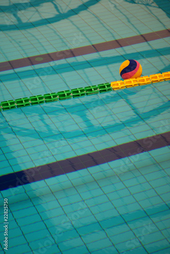 Water polo game ball in a swimming pool