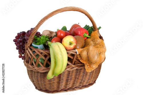 Keuken foto achterwand Boodschappen Einkaufskorb mit Lebensmitteln