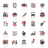 Fototapety red education icons - set 5