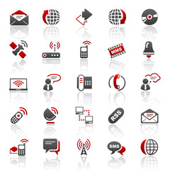 red communication 2 icons - set 6