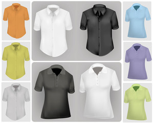 Vector illustration. Polo shirt and t-shirt design template