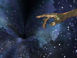 Circuit Covered Skinned Hand Points Toward Wormhole in Space