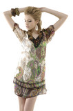 Vogue style photo of fashion model on light background poster