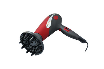 Red hair dryer with working path