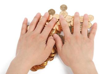 greedy hands grabbing gold coins