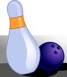 Illustration of throw ball and bowling pin