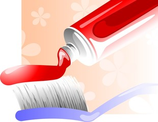 Illustration of toothpaste with brush