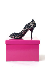 women's shoes on the gift box