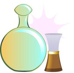 Illustration of a body lotion tube and shaving brush