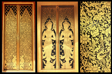 Thai art in door background