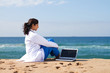 doctor relaxing on beach