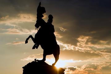 Vienna - silhouette of statue of emperor Franz Joseph I