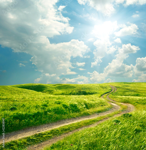 Summer landscape with green grass, road and clouds - 22838147