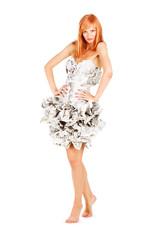 Sweet girl in a newspaper dress