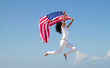 active woman holding USA flag