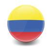 Esfera brillante con bandera Colombia
