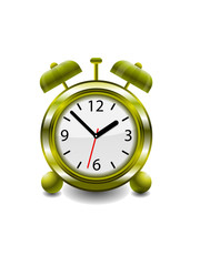 Vector Illustration of a gold retro analog Alarm Clock