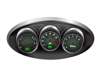 Car Dashboard Dials Vector Illustration