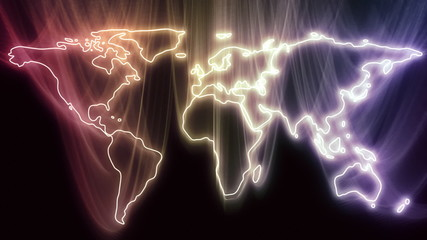 Continents Become Glowing World Map